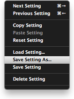 Plug-In Preset Menu
